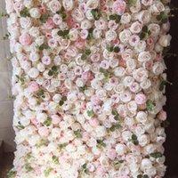 SPR 4FT * 8 피트 블러시 핑크 꽃 벽은 아치 테이블 러너 인공 꽃 장식을 굴릴 수 있습니다. Free Shpping1