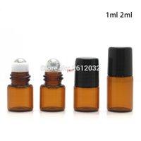 1 ML 2 ML Mini Rulo Cam Şişe Parfüm Parfüm Amber Kahverengi Kalın Cam Şişeler Esansiyel Yağ Çelik Metal Rulo Ballgood QualtityGood S