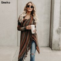 Umeko Automne Rainbow Irrégulant Sweather Sweater Sweater Tricot Sweater Femmes Manches longues Cape Casual Plus Taille Sweater 201202