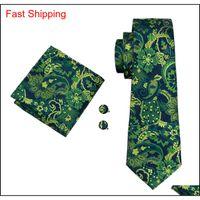 Klasik İpek Erkek Kravatlar Yeşil Kravat Setleri Çiçek Erkek Kravat Kravat Hanky Kol Düğmeleri Set Jacquard Dokuma Toplantı İş ... Biz Qylvwf Queen66