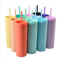NOUVEAU Style 6 Couleurs Toboulet acrylique maigre 12oz Matte avec paille à couvercle en plastique double paroi des bouteilles d'eau plastique portable tasses de café givrés