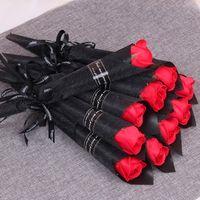 200 stks Single Stam Kunstmatige Rose Romantische Valentijnsdag Bruiloft Verjaardag Party Soap Rose Flower Red Pink Blue