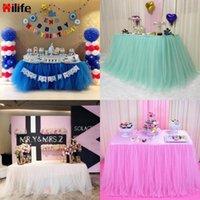 Multi colori tavolo gonna party tulle tutu 75 * 100 cm con tovaglia 3 clip da tavolo decorazione della casa decorazione della festa nuziale