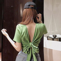 T Shirt Donne Sexy Sexy Deep Neck Collo Crop con cintura con cintura Slim Solid Color Colore Casual Top Backless Bow Fashion manica corta Tshirt1