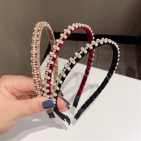 3 colori Vintage Velvet Girls Hairbands Fashion Pearl Strass Donne Fandbands per Party Semplice Meke Up Hair Band