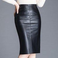Mulheres de pele de carneiro envoltório sobre o joelho couro feminino alta cintura de cintura pacote de quadril de pacote plus size w532
