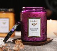 250 мл Пустые большие тиснения стеклянные свеча банка 8 унций с металлической крышкой золотой фиолетовый золотой белый цвет для ароматерапии эфирное масло свеча сливок