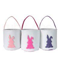 Pascua Rabbit Imprimir Cubo Cubo lentejuelas Conejito Pascua Cesta de Pascua Caza de Pascua Huevo Candy Candy Bucket Party Supply RRA3948