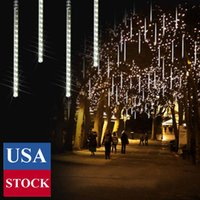 Meteor Shower Lights 50CM 10 Tubes 480 LED Christmas Plug in Snowfall LED Outdoor Waterproof Falling Rain Lights