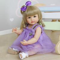 US 주식 22 인치 실리콘 비닐 시뮬레이션 인형 귀여운 소녀 인형 젖꼭지 간호 병 쿠션 4 스타일 선물 소녀
