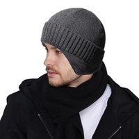Casquettes de cyclisme Masques Hommes Hiver chapeau de mode Acrylique tricoté Chapeaux noirs tombe épais épais chaude et bonnet cruelle cruelle Bonnet Soft Bonnets coton