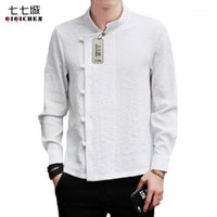 Camisas casuales de los hombres China Tradicional primavera blanca ropa de lino camisa de manga larga Mandarin Cuello sólido retro traje traje de traje 1