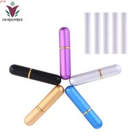 Navier gratuit 16pcs Coloré Aromathreapy Huile essentielle Aluminium Nasal Nasal Inhalter avec 32pcs Qualité de haute qualité D7xH54mm Coton Qualité de WicksGood
