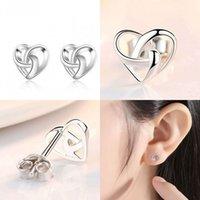 الحب القلب شكل الأذن ترصيع مجوهرات النساء مطلي الفضة الأزياء أقراط عيد الحب هدية يوم 1 68SZ J2