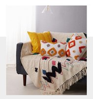 Yastık / Dekoratif Yastık Renkli Yastık Örtüsü Nakış Elmas Şerit Fas Stil 45x45 cm / 30x50 cm Ev Dekorasyon Turuncu Bej GREY1