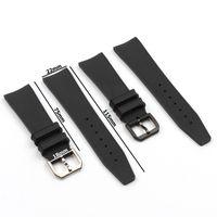 22mm Naturel Caoutchouc Noir Silicone Watchband Watchband de Watch pour Fit IWC Pilot Portugieser IW323101 Boucle d'épingle à bracelet
