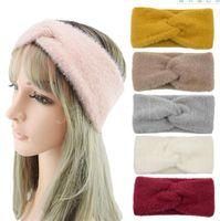 Kış Peluş Çapraz Vizon Kürk Bantlar Turbans Kadınlar Katı Sıcak Kabarık Yay Düğüm Hairbands Kulak Isıtıcı Bayanlar Saç Aksesuarları DDA828