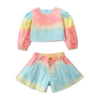 Instrine Fashion Girls Costumes Denim Girls Outfits Tops à manches longues + Shorts 2pcs / Set Sweet Girls Vêtements Designers Vêtements Vêtements Enfants Vêtements B3081