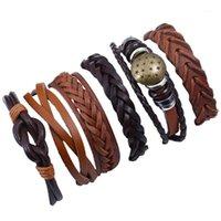 Bracciali di fascino punk rock stella larga braccialetti in vera pelle set unisex retrò lega etnica braccialetto avvolgere moda vintage gioielli1