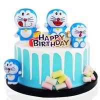 4 pcs / conjunto japoneses anime ação figuras carro bolo de aniversário decoração Doraemon garagem modelo kits brinquedo