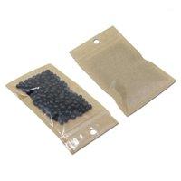 Wrap Pokładzie 100 sztuk / partia Reklosable Clear Brown Plastikowy Pakiet Pakowy Pakiet Torba Pieczęć Ciepła Pakowanie Zipper Pakowanie Wieszanie z Hole Hole1