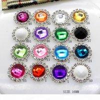 50pcs couleurs mélangées 16mm acrylique métal cristal strass bouton Embellissements de cheveux de mariage DIY Accessoire Décoration