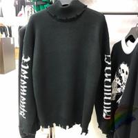 Tambeneck Domaines Sweater en détresse Hommes Maintes White White Lettre Sweatshirts