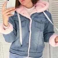 Neue Frauen Denim Jacke mit Pelz Winter Jeans Warme Mit Kapuze Samtjacke Femme Faux Pelzkragen Gepolsterte Bomber Windbreake21