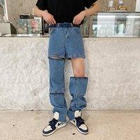 Jeans d'hommes origion unisexe unisexe jambe droite pantalon variété de vinaigrette zipper shorts articulés hauts rue marqueur roux pantalon rouge