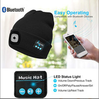 Chapeaux Bluetooth Bluetooth Bluetooth de l'usine LED Lumineux Sans fil Music Night Sighting Eclairage extérieur Écouteur chaud Chapeau de musique pour homme Femme