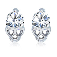 أزياء المرأة روز الذهب الفضة لهجة الكريستال الزركون الجمجمة مثقوب أقراط مجوهرات هدية شحن مجاني