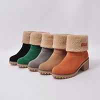 Зимние женские ботинки теплые удобные повседневные снежные ботинки круглые носки женские плюшевые середины каблуки сапоги дамы середины теленка сапоги