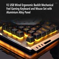 V1 USB Wired Ergonômico Backlit Mecânica Sinta Gaming Teclado Mouse Definido Teclado Ratos Combo Para Laptop Desktop PC1