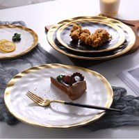 8inch 10inch Gold Ceramic plate dish White Black Tableware s...