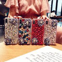 с закаленным стеклом, для iPhone 11 Case Iphone 12 11 Pro Max Case Bling Bling Stones Camellia Crystal Diamonds Flowers 3D чехлы телефона