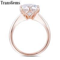 Cluster Rings Transgems 14k розовое золото 3CT 9 мм F цвет пасьянс мозисанит обручальное кольцо для женщин свадебный подарок розовые дамы