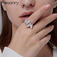 Кластерные кольца Foxanry 925 Стерлинговое серебро Игристые Бабочки Очарование Женщины Точная невеста Ювелирные Изделия Модные Элегантные Свадебные Аксессуары Gifts1
