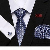 Мужская галстука 100% шелковая красная клетчатая клетчатая жаккардовая ткань + Hanky + запонки наборы для формальной свадьбы.