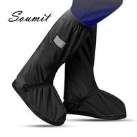 Soumit Radfahren Schuhe Abdeckung Wasserdichte Winddichte Regenstiefel Schwarz Wiederverwendbare Schuhabdeckungen Für Männer Frauen Fahrrad Überschuhe Bootsschuh