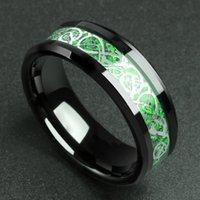 8mm Zwart Heren Tungsten Ringen Rode Koolstofvezel en Dragon Inlay Celtic Wedding Bands Mode Verlovingsring Comfort Fit K371