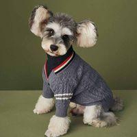 Одежда для одежды для собак Осень и зимний вязаный свитер Кардиган Тедди Шнауцер Поморский VIP Cat Pet