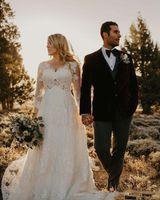 Plus Size Lace Country Bröllopsklänningar 2021 Ny Court Train Beaded V-Neck 3/4 Long See A-Line Bridal Gowns Vestido de Novia W202