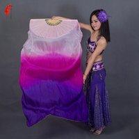 Bühnenverschleißfarben gefärbt 100% reine natürliche Seide-Fan-Schleier für Bauchtanz 180cm lange Tänzerin Leistung Schleier ein Paar