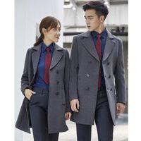 Tasarımcılar Kış Erkekler ve Kadınlar Aynı Gri Yün Ceket Profesyonel İş Takım Orta Uzun Sonbahar Kışlık Ceket İş Giysileri Satış Takım