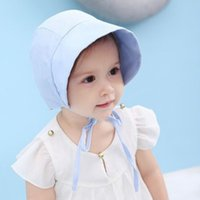 Lindo bebé bucket sombreros verano bebé algodón solhat muchachos visor gorra al aire libre viaje sol sombrero niño niños algodón sunbonnet topee 4 colores
