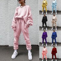 Frauen Solid Color Set Casual Trainingsanzug Sportswear Sets Frauen Weiche Langarm Hoodies Sweatshirt Hose Set Herbst Mit Kapuze Top
