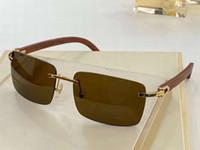 Óculos de sol de madeira retângulo de ouro para homens óculos sem aro carter óculos desenhistas designers sunglasses máscaras de alta qualidade com caixa