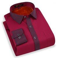 남성용 드레스 셔츠 Pauljones 봄 플러스 사이즈 5XL 긴 소매 공식 열 남자 겨울 셔츠 벨벳 두꺼운 빈티지 중국어 브랜드 남자 blous