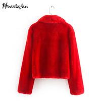 Huaxifan красный искусственный меховой вагущ женщины зимние теплые густые пальто женщины элегантные куртки женские верхние одежды длинные рукава карманы lj201204