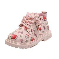 Sonbahar Kış Kız Martin Çizmeler Çocuk Sevimli Çilek Kısa Kadın Bebek İngiliz Tarzı Çocuk Ayakkabı